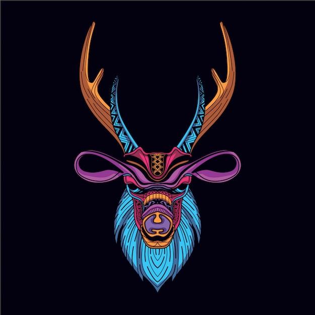 Dekoracyjna Głowa Jelenia W Blasku Neonowego Koloru Premium Wektorów