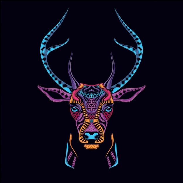 Dekoracyjna Głowa Jelenia Z Neonowego Koloru Premium Wektorów