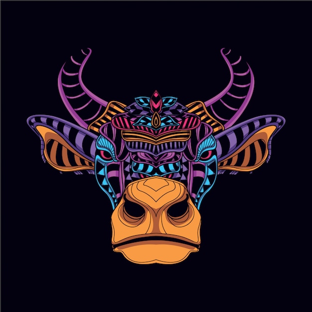 Dekoracyjna Głowa Krowy W Blasku Neonowego Koloru Premium Wektorów
