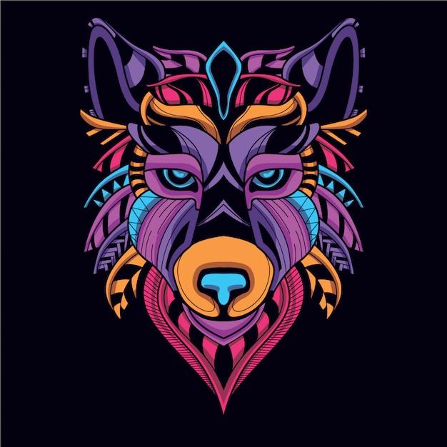 Dekoracyjna głowa wilka w blasku neonowego koloru Premium Wektorów