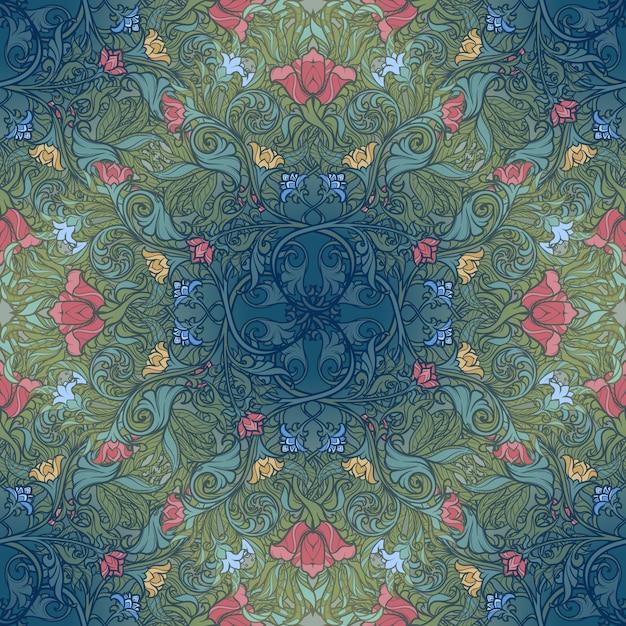 Dekoracyjna Kompozycja Kwiatowa Ze Stylizowanymi Czerwonymi Makami I Dzwoneczkami. Wzór średniowiecznego Gotyku. Premium Wektorów