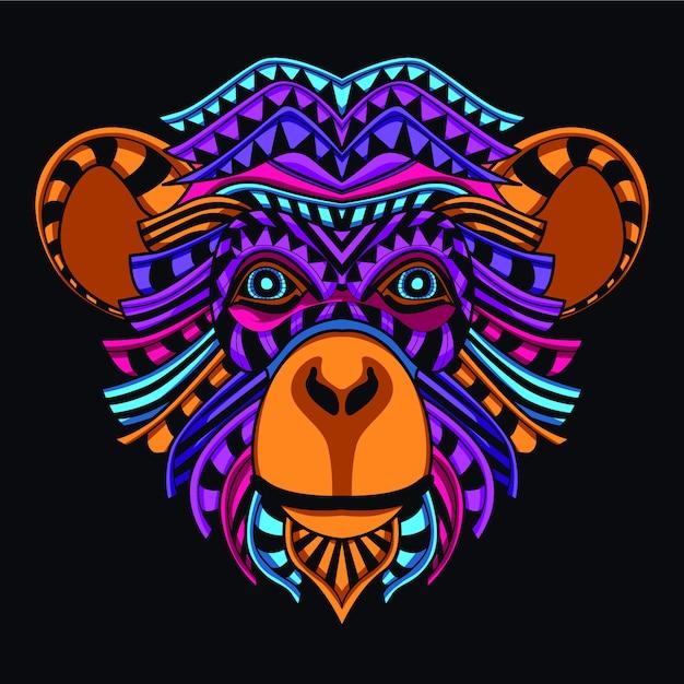 Dekoracyjna Małpia Głowa W Jarzeniowym Neonowym Kolorze Premium Wektorów