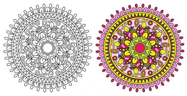 Dekoracyjna Mandala Do Kolorowania Premium Wektorów