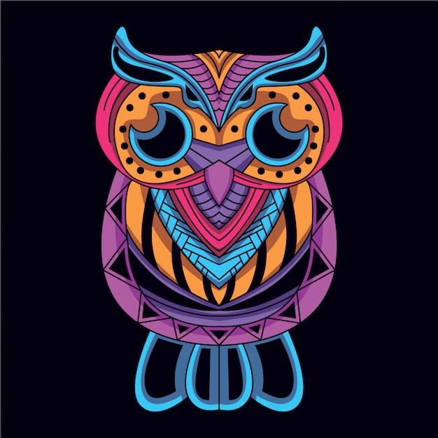 Dekoracyjna sowa w blasku neonowego koloru Premium Wektorów