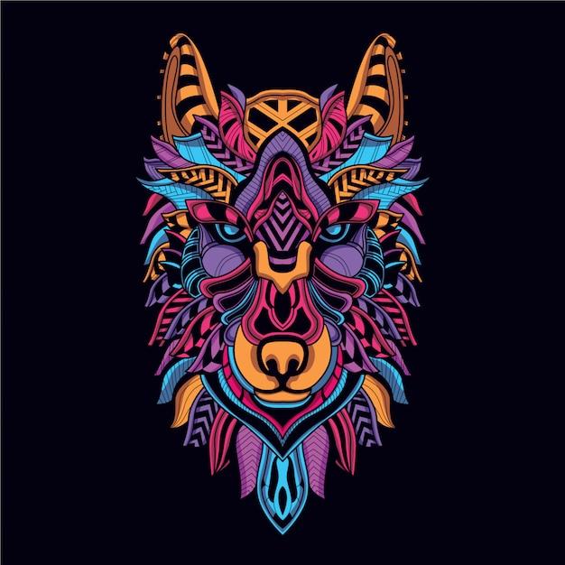 Dekoracyjna twarz wilka z neonowego koloru Premium Wektorów