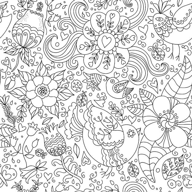 Dekoracyjne Bezszwowe Tło Wzór Z Konturowym Rysunkiem Kwiatów I Ptaków. Premium Wektorów