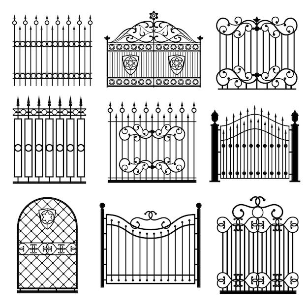 Dekoracyjne czarne sylwetki ogrodzenia z bramami wektor zestaw Premium Wektorów