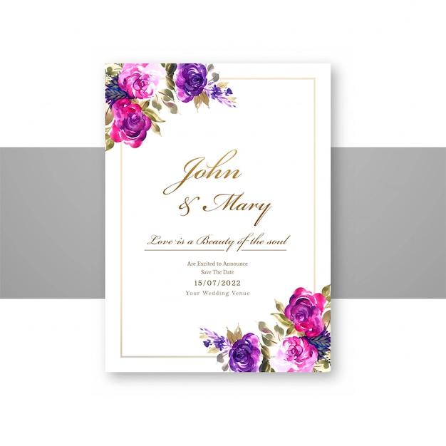 Dekoracyjne Kwiaty ślubne Zapisać Datę W Szablonie Karty Menu Darmowych Wektorów