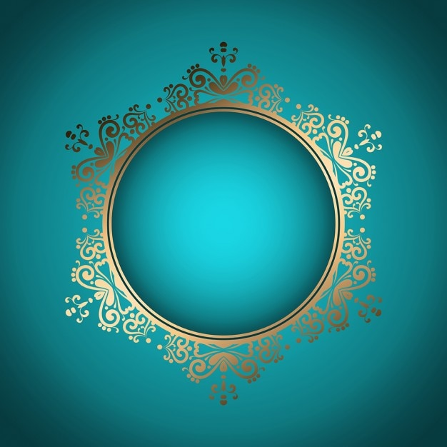 Dekoracyjne stylowe tło z ramką złotą Darmowych Wektorów