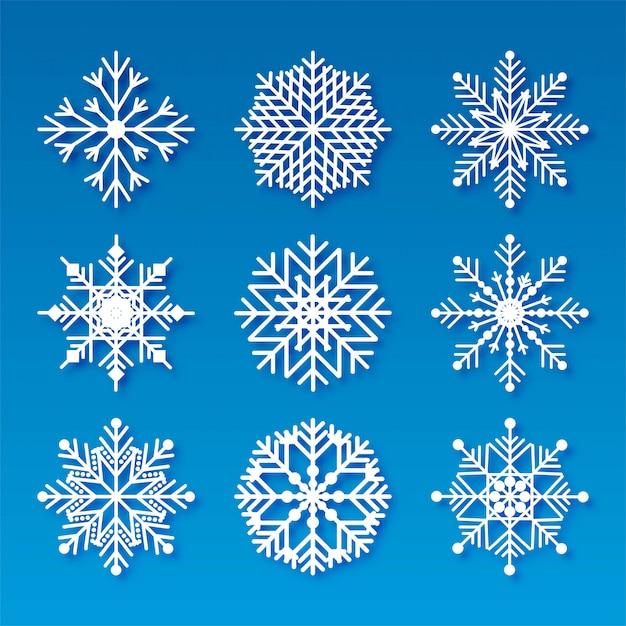 Dekoracyjne świąteczne Płatki śniegu Ustawić Elementy Darmowych Wektorów