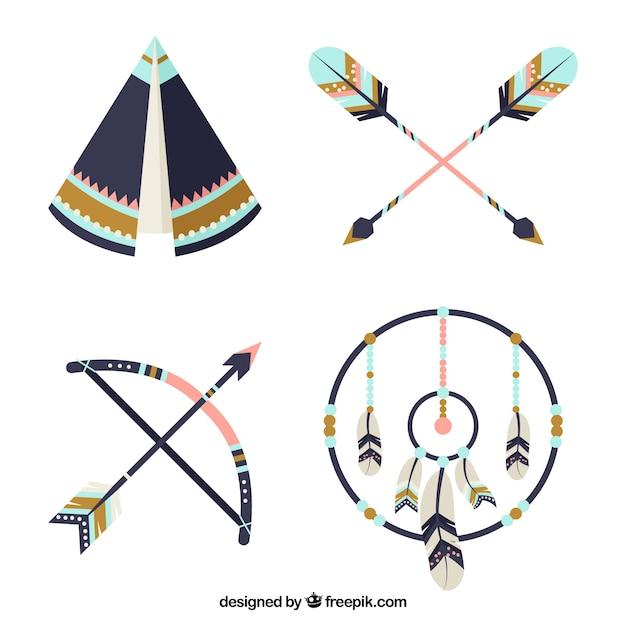 Dekoracyjne Zestaw Elementów Etnicznych Z Niebieskimi Szczegóły Darmowych Wektorów