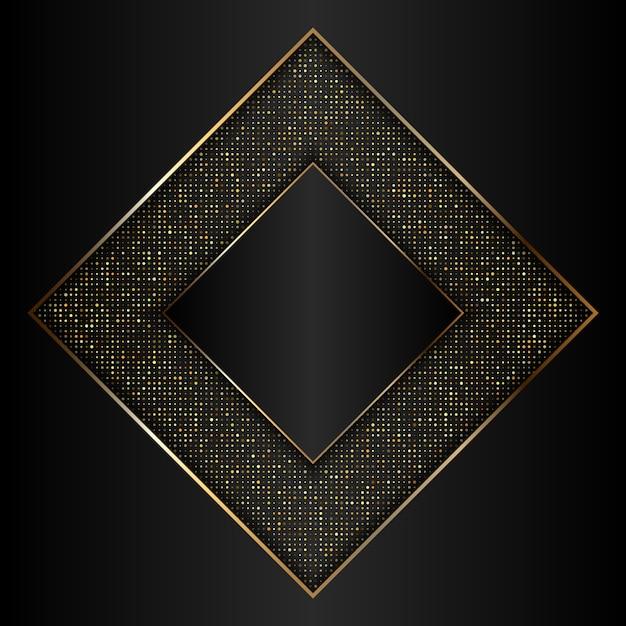 Dekoracyjne Złote I Czarne Tło Z Metaliczną Złotą Ramą Darmowych Wektorów