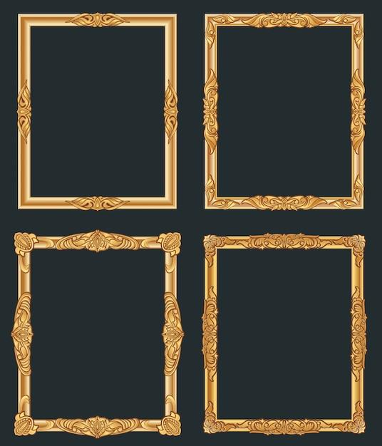 Dekoracyjne Złote Ramki W Stylu Vintage. Stare Błyszczące Luksusowe Złote Granice. Premium Wektorów