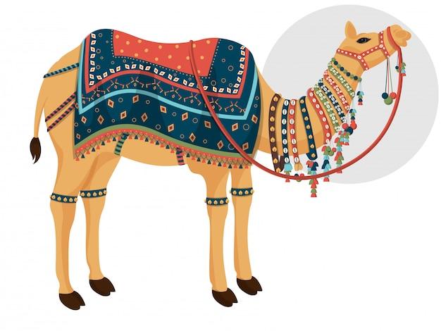 Dekoracyjny charakter wielbłąda Premium Wektorów