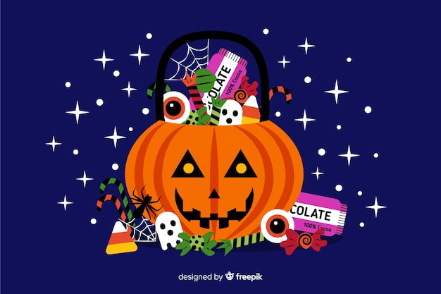 Dekoracyjny halloween tła płaski projekt Darmowych Wektorów