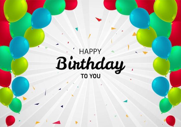Dekoracyjny Stubarwny Balonu Wszystkiego Najlepszego Z Okazji Urodzin Karty Tło Darmowych Wektorów