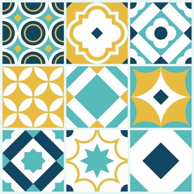 Dekoracyjny wzór płytki z geometrycznymi kształtami Premium Wektorów