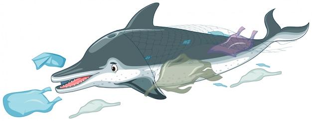 Delfin Z Plastikowymi Torbami Premium Wektorów