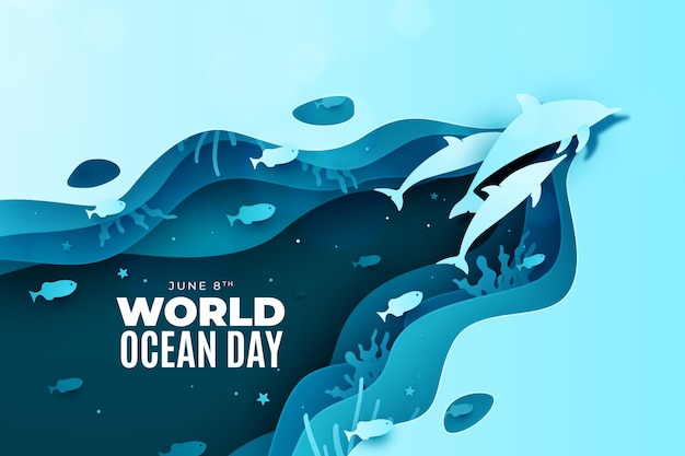 Delfiny W Stylu Oceanu światowego Stylu Papieru Darmowych Wektorów