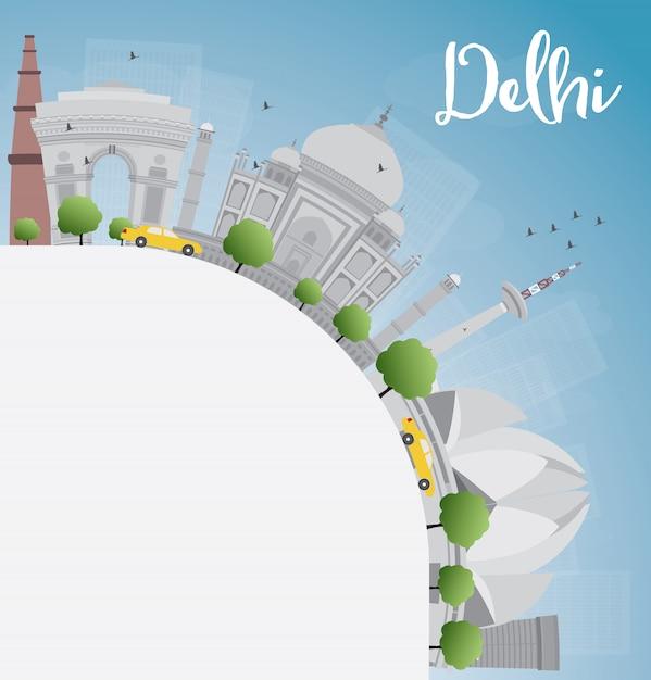 Delhi panoramę z szarymi zabytkami, błękitne niebo i kopiować miejsca. Premium Wektorów
