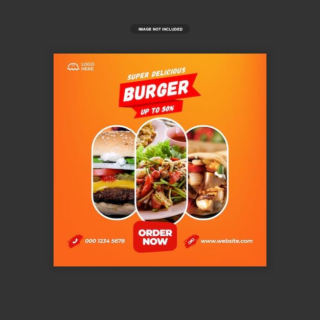Delicious Burger Social Media Sqaure Banner Szablon Premium Psd Premium Premium Wektorów