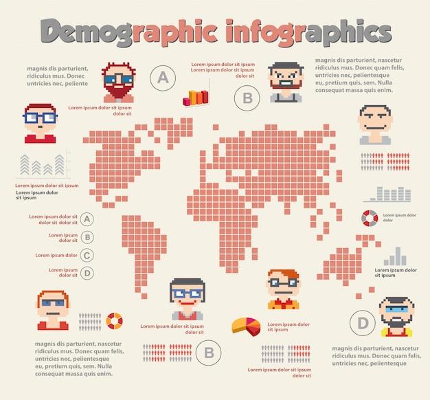 Demograficzna infografika z ludźmi Premium Wektorów