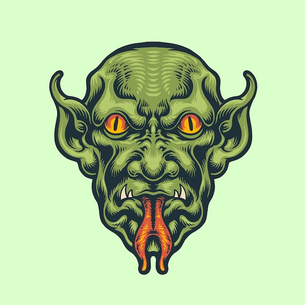 Demon Head Vintage Styl Premium Wektorów