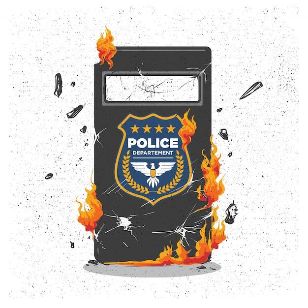 Demonstracja Chaosu Z Płonącą Tarczą Policyjną Premium Wektorów