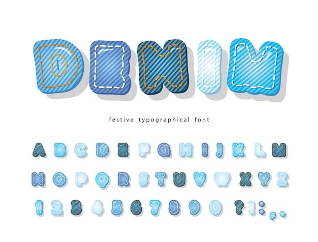 Denimowa Czcionka. Alfabet Tekstura Dżinsy. Premium Wektorów