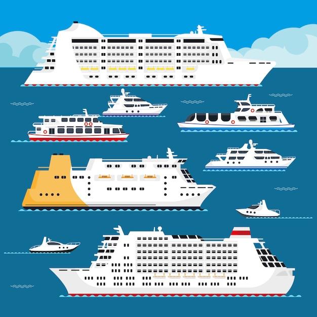 Dennego rejsu liniowa wektoru mieszkania wakacje pasażerski statek Premium Wektorów