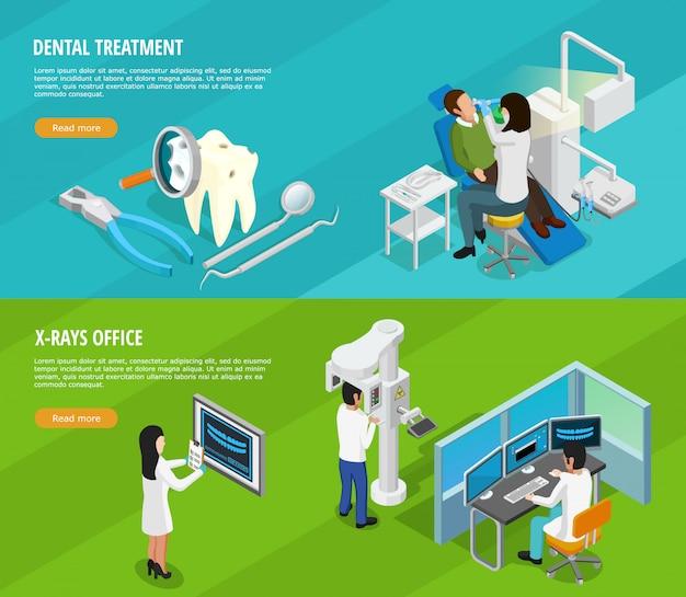 Dental izometryczny poziome banery Darmowych Wektorów