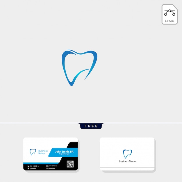 Dental logo i bezpłatny projekt wizytówki Premium Wektorów