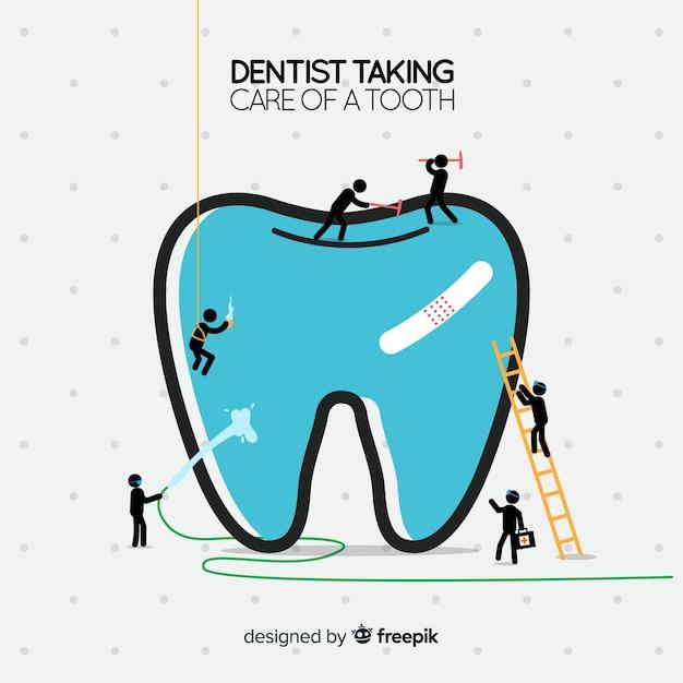 Dentyści Dbający O Tło Zęba Darmowych Wektorów