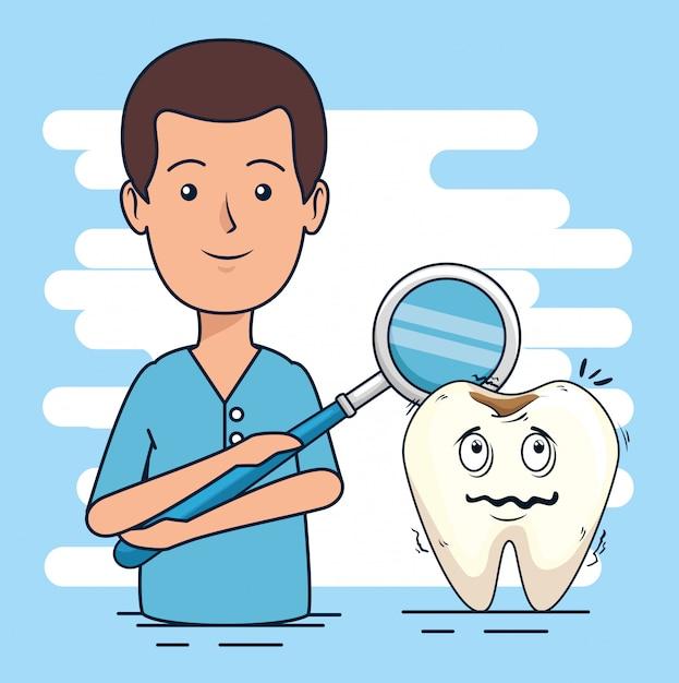 Dentysta człowiek i ząb z diagnozą próchnicy Darmowych Wektorów