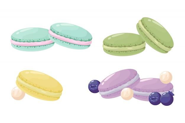 Deser Słodkich Macarons Premium Wektorów