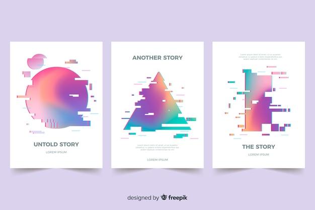 Designowe pokrowce z efektem kolorowej usterki Darmowych Wektorów