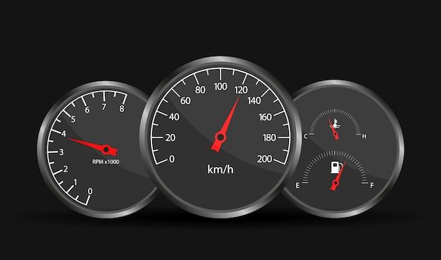 Deska Rozdzielcza Prędkościomierza Samochodu. Premium Wektorów
