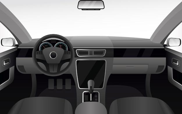 Deska Rozdzielcza Samochodu, Ilustracja Wnętrza Salonu Samochodowego. Kreskówka Kabina Samochodowa Z Przednią Szybą Premium Wektorów