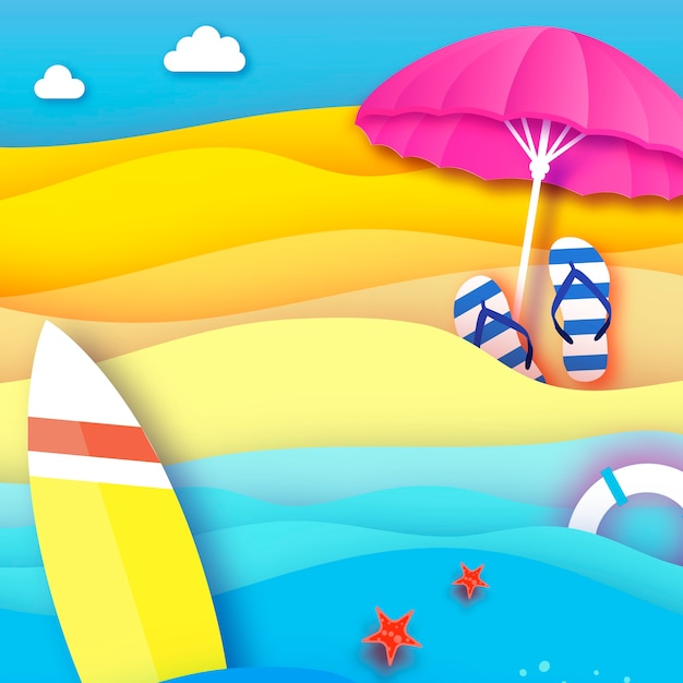 Deska Surfingowa Różowy Parasol Parasolowy W Stylu Wycinanym Z Papieru Origami Morze I Plaża Z Kołem Ratunkowym Sportowa Piłka Do Gry Flipflops Koncepcja Wakacji I Podróży Kwadratowa Ramka Miejsce Na Tekst Lato Premium Wektorów