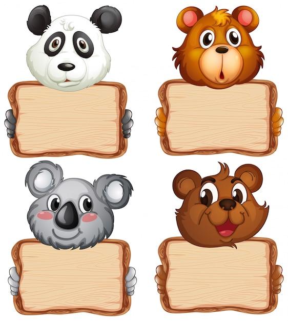 Deskowy Szablon Z ślicznymi Niedźwiedziami Na Białym Tle Darmowych Wektorów