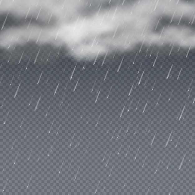 Deszcz 3d Z Spadających Kropli Wody I Szare Burzowe Chmury. Tło Pogoda Kropla Deszczu, Prysznic Ze Strumieniem Deszczowym Premium Wektorów