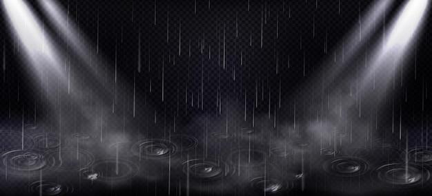 Deszcz, Kałuże I Promienie Punktowe, Spadające Krople Wody I światło Darmowych Wektorów