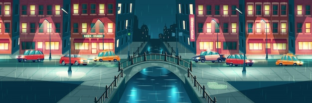 Deszczowa, mokra pogoda w nocy miasto kreskówka Darmowych Wektorów
