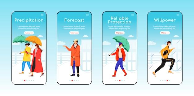 Deszczowa Pogoda Chodzenie Onboarding Szablon Ekranu Aplikacji Mobilnej. Opady, Prognoza. Przewodnik Po Witrynie Z Postaciami. Interfejs Rysunkowy Smartfona Ux, Ui, Gui, Zestaw Wydruków Skrzynek Premium Wektorów