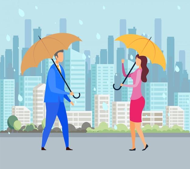 Deszczowy Dzień, Zła Pogoda Płaski Wektorowego Premium Wektorów