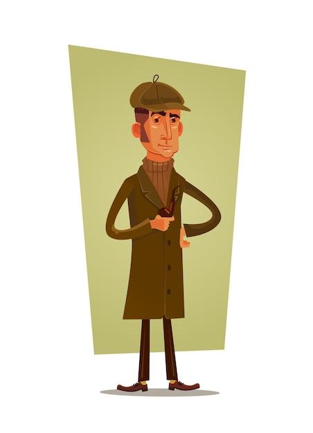 Detektyw Człowiek Fajka Charakter. Premium Wektorów