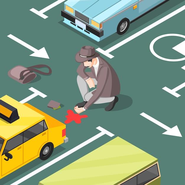 Detektyw Na Miejscu Zbrodni Na Parkingu Darmowych Wektorów