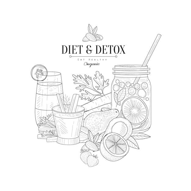 Detox I Diety świeże Jedzenie Pić Ręcznie Rysowane Realistyczne Szkic Premium Wektorów
