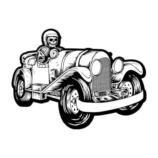 Devil riders with vintage a car Premium Wektorów