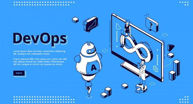 Devops, Banner Operacji Rozwojowych Darmowych Wektorów